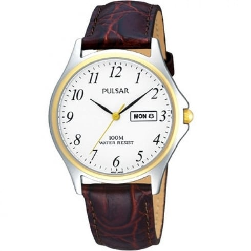 Pulsar Classic White Dial Brown Leather Strap Gents Watch PXF294X1