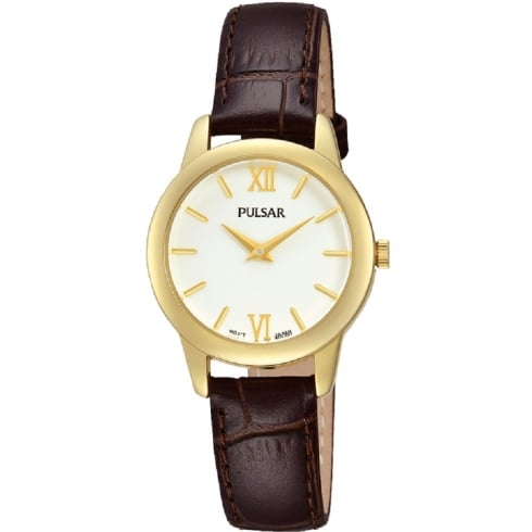 Pulsar Classic White Dial Brown Leather Strap Ladies Watch PRW020X1