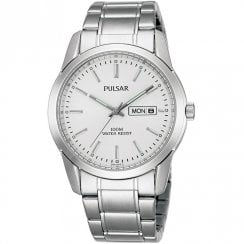 Pulsar Classic White Dial Chrome Bracelet Gents Watch PJ6019X1