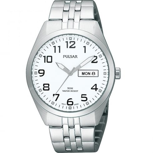 Pulsar Classic White Dial Chrome Bracelet Gents Watch PV3005X1