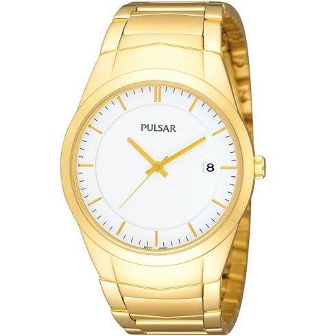 Pulsar Classic White Dial Gold Bracelet Gents Watch PS9150X1