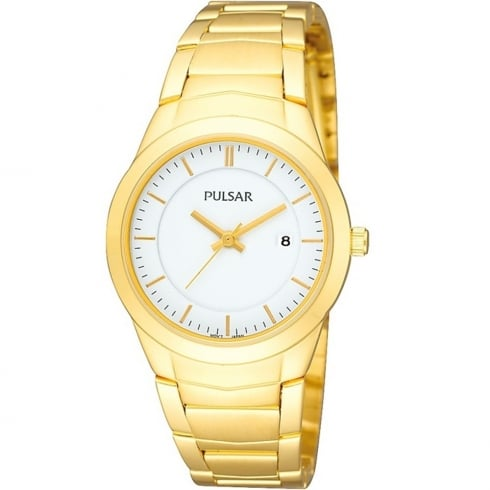 Pulsar Classic White Dial Gold Plated Bracelet Ladies Watch PH7284X1