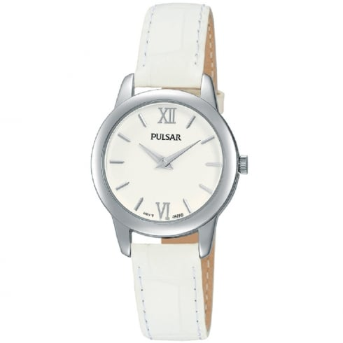 Pulsar Classic White Dial White Leather Strap Ladies Watch PRW019X1