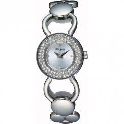 Pulsar Crystal silver dial stainless steel bracelet Ladies watch PEGD87X1