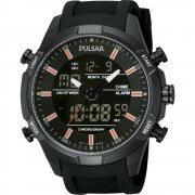 Pulsar Digital Chronograph Black Resin Strap Gents Watch PW6007X1