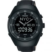 Pulsar Dual Display World Time Chronograph Black Leather Strap Gents Watch PZ4019X1