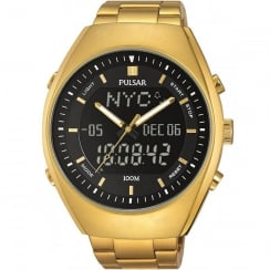 Pulsar Dual Display World Time Chronograph Gold Bracelet Gents Watch PZ4012X1