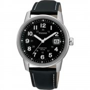 Pulsar Kinetic Black Dial Black Leather Strap Mens Watch PAR087