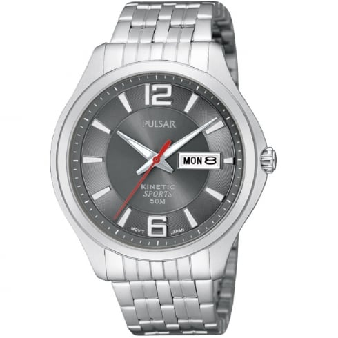 Pulsar Kinetic Grey Dial Stainless Steel Bracelet Gents Watch PD2035X1