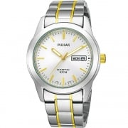 Pulsar Kinetic White Dial 2 Tone Bracelet Gents Watch PD2027X1