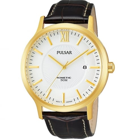 Pulsar Kinetic White Dial Black Leather Strap Mens Watch PAR182