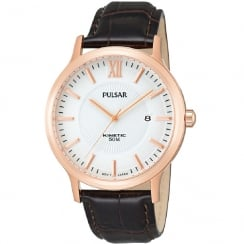 Pulsar Kinetic White Dial Brown Leather Strap Gents Watch PAR184X1