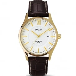 Pulsar Kinetic White Dial Brown Leather Strap Mens Watch PAR182