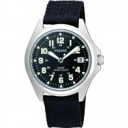 Pulsar Military Black Dial Nylon Strap Mens Watch PS9045