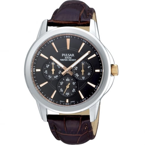 Pulsar Multi-Function Black Dial Brown Leather Strap Mens Watch PP6019