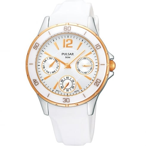 Pulsar Multifunction White Dial Rubber Strap Ladies Watch PP6022X1