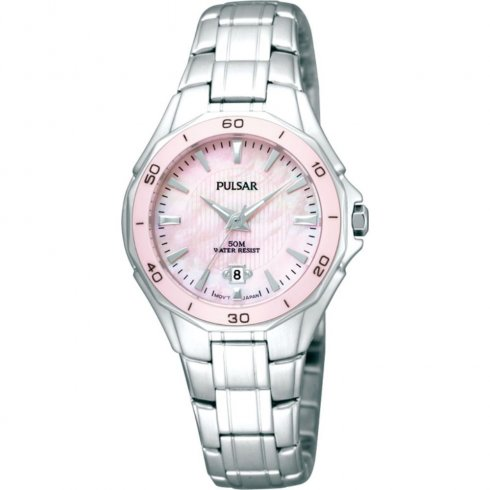 Pulsar Pink Dial Stainless Steel Bracelet Ladies Watch PXT899X1