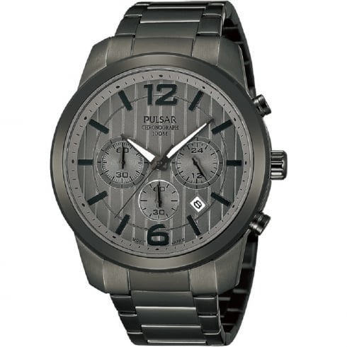 Pulsar Chronograph Grey Dial IP Grey Stainless Steel Bracelet Mens Watch PT3281