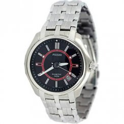 Pulsar Kinetic Black Dial Stainless Steel Bracelet Mens Watch PAR115X1