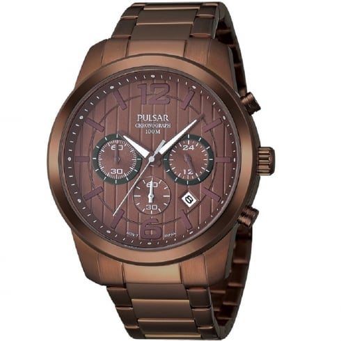 Pulsar Sports Chronograph brown dial chronograph stainless steel bracelet Mens watch PT3283