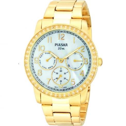 Pulsar Stone Set White Dial Gold Bracelet Ladies Watch PP6094