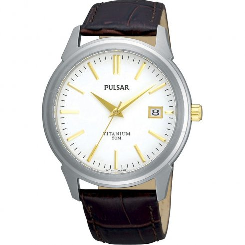 Pulsar Titanium White Dial Brown Leather Strap Mens Watch PXHA21X1
