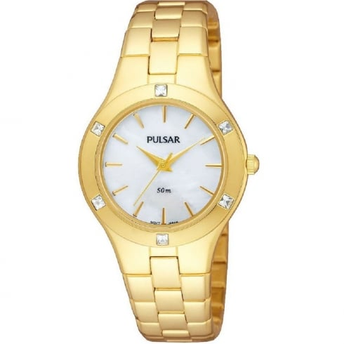 Pulsar White Dial Gold Bracelet Ladies Watch PH8048