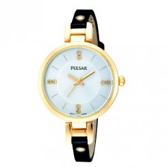 Pulsar Silver Dial Black Leather Strap Ladies Watch PH8036X1