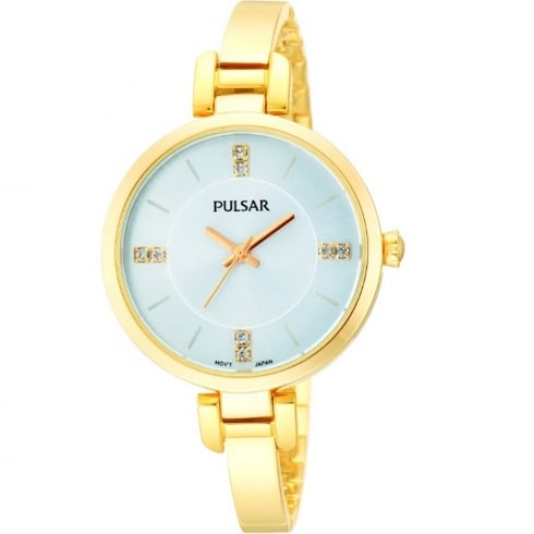 Pulsar Silver Dial Gold Plated Semi-Bangle Ladies Watch PH8034X1