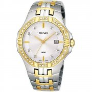 Pulsar  silver dial stainless steel bracelet Mens watch PXDA86