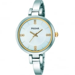 Pulsar Silver Dial Stainless Steel Semi-Bangle Ladies Watch PH8033X1