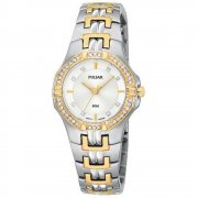 Pulsar Silver Dial Two Tone Bracelet Ladies Watch PTC388X1