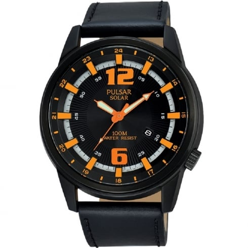Pulsar Solar Black Dial Black Leather Strap Gents Watch PX3081X1
