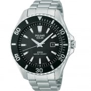 Pulsar Solar Black Dial Chrome Bracelet Gents Watch PX3035X1