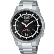 Pulsar Solar Black Dial Stainless Steel Bracelet Gents Watch PX3085X1