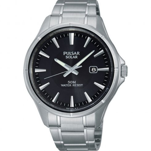 Pulsar Solar  black dial stainless steel bracelet Mens watch PX3045X1