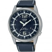 Pulsar Solar Blue Dial Blue Leather Strap Gents Watch PX3083X1