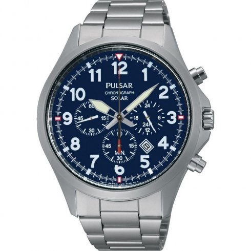 Pulsar Solar  blue dial chronograph stainless steel bracelet Mens watch PX5001X1