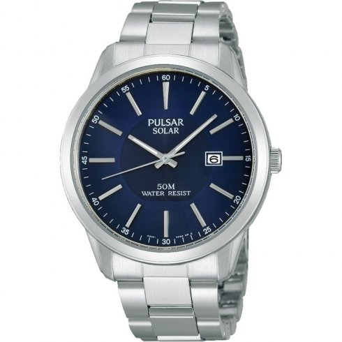 Pulsar Solar  blue dial stainless steel bracelet Mens watch PX3021X1