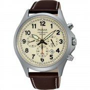 Pulsar Solar Chronograph Beige Dial Brown Leather Strap Gents Watch PX5005X1