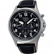 Pulsar Solar Chronograph Black Dial Leather Strap Gents Watch PX5007X1