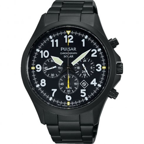 Pulsar Solar chronograph black dial stainless steel bracelet Mens watch PX5003X1