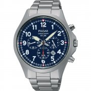 Pulsar Solar chronograph blue dial stainless steel bracelet Mens watch PX5001X1