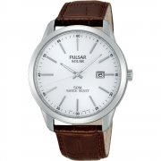Pulsar Solar  white dial leather strap Mens watch PX3027X1