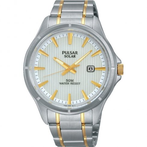Pulsar Solar  white dial stainless steel bracelet Mens watch PX3047X1