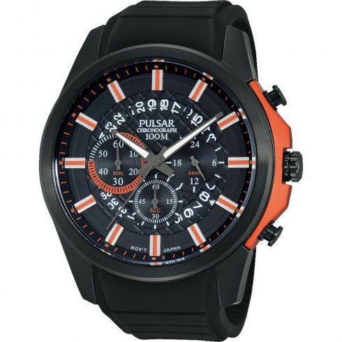Pulsar Sports Chronograph black dial chronograph rubber strap Mens watch PT3561X1
