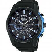 Pulsar Sports Chronograph black dial chronograph rubber strap Mens watch PT3567X1
