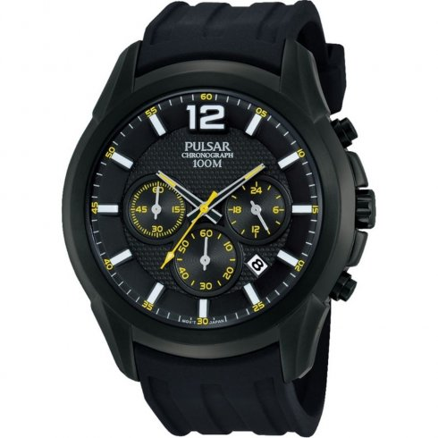 Pulsar Sports Chronograph black dial chronograph rubber strap Mens watch PT3595X1