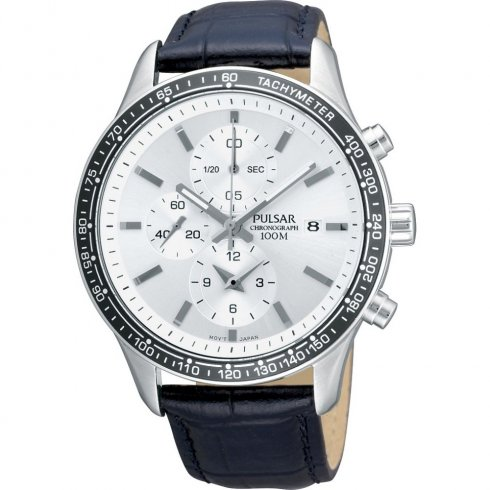 Pulsar Sports Chronograph white dial chronograph leather strap Mens watch PF8405X1
