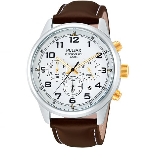 Pulsar Sports Chronograph white dial leather strap Mens watch PT3259